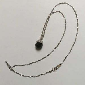 V3 925 Faceted Onyx Necklace